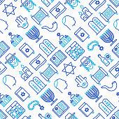 Judaism seamless pattern with thin line icons: Orthodox jew, star of David, sufganiyot, hamsa, candles, synagogue, skullcap, rosary, Western Wal, Tanakh. Modern vector illustration.