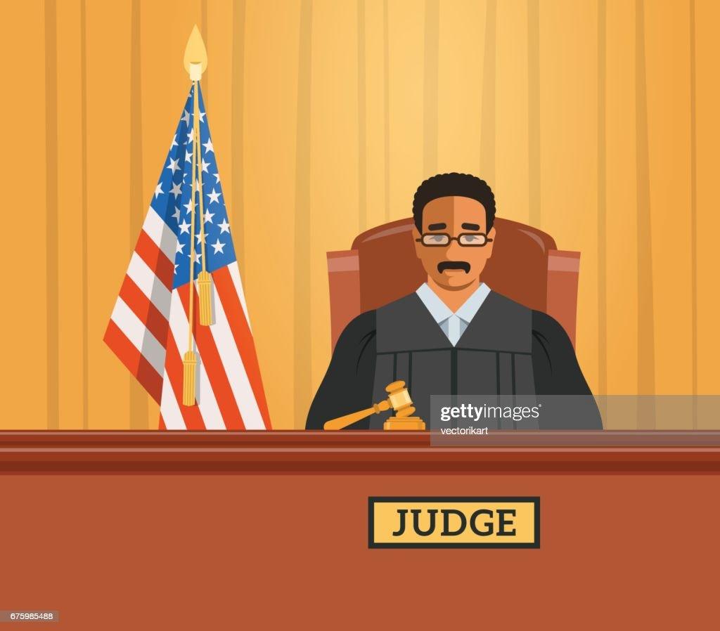 Judge black man in courtroom vector flat illustration