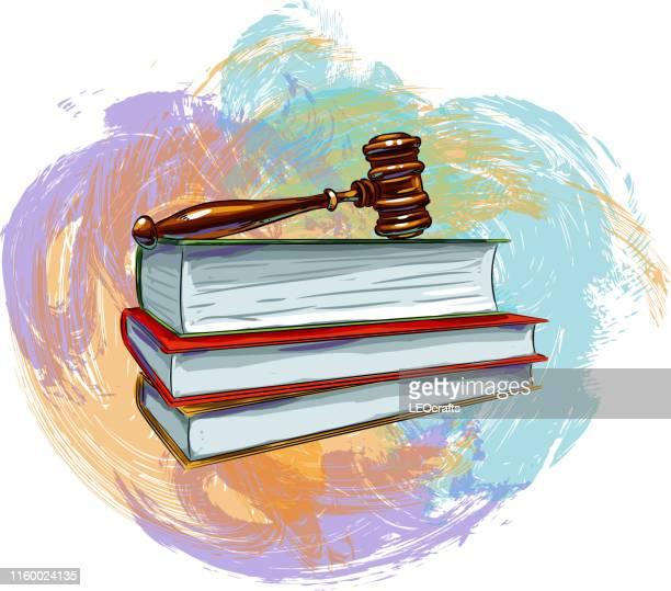 ガヴェル判事と本のドローイング - 最高裁判事点のイラスト素材/クリップアート素材/マンガ素材/アイコン素材