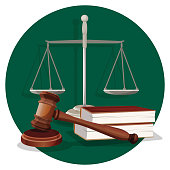 Judge gavel and grey scale with two book on green