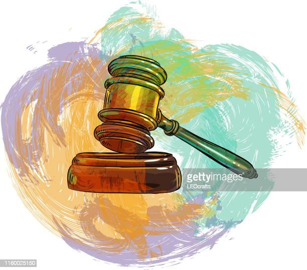 judge gavel drawing - justice concept stock illustrations