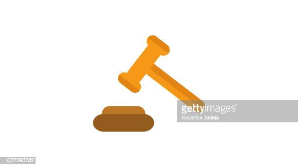 judge gavel or auction hammer icon - bid stock illustrations