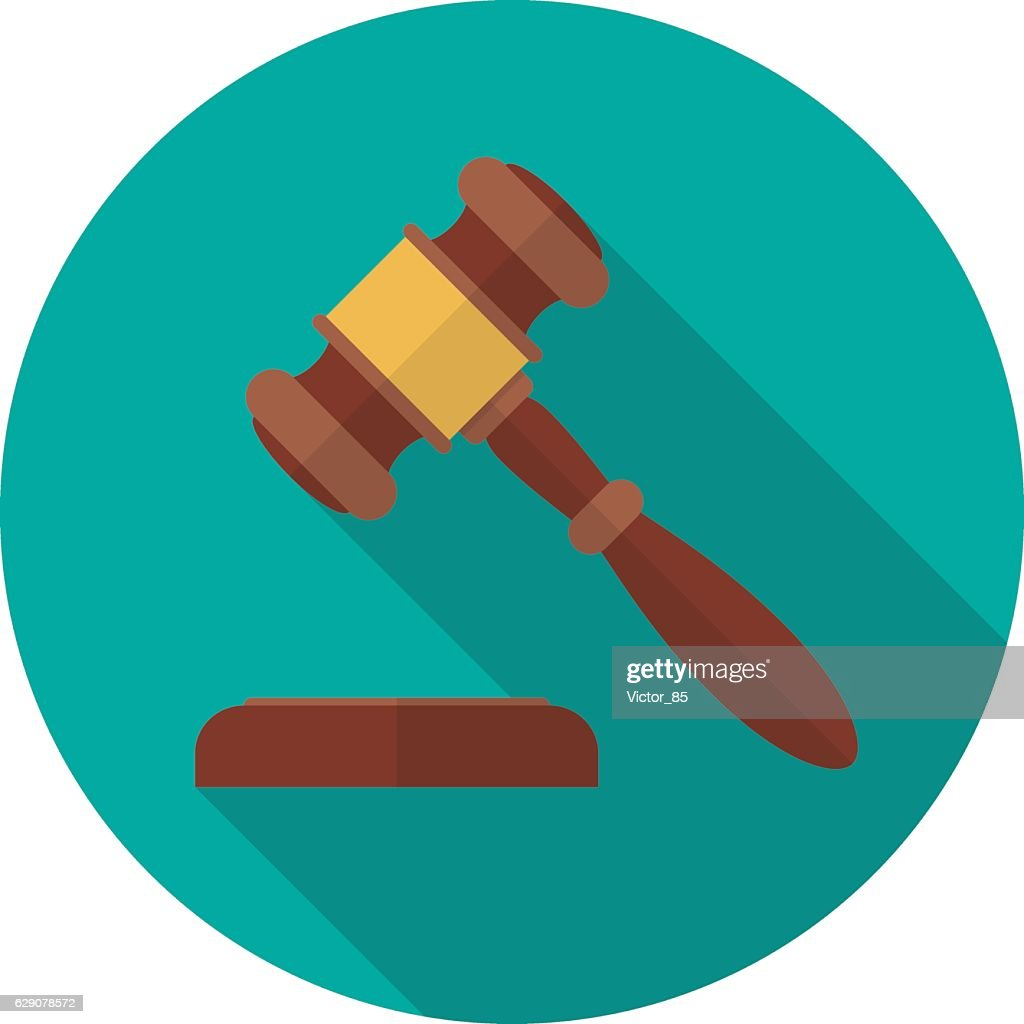 Judge gavel or auction hammer icon with long shadow.