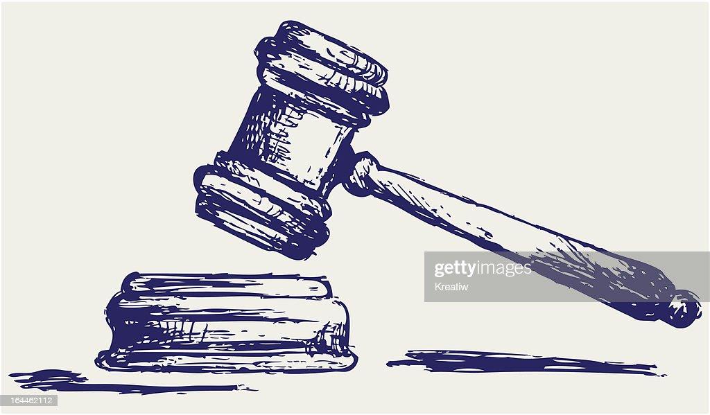 Judge gavel sketch : stock illustration
