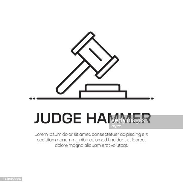 judge hammer vector line icon - simple thin line icon, premium quality design element - bid stock illustrations