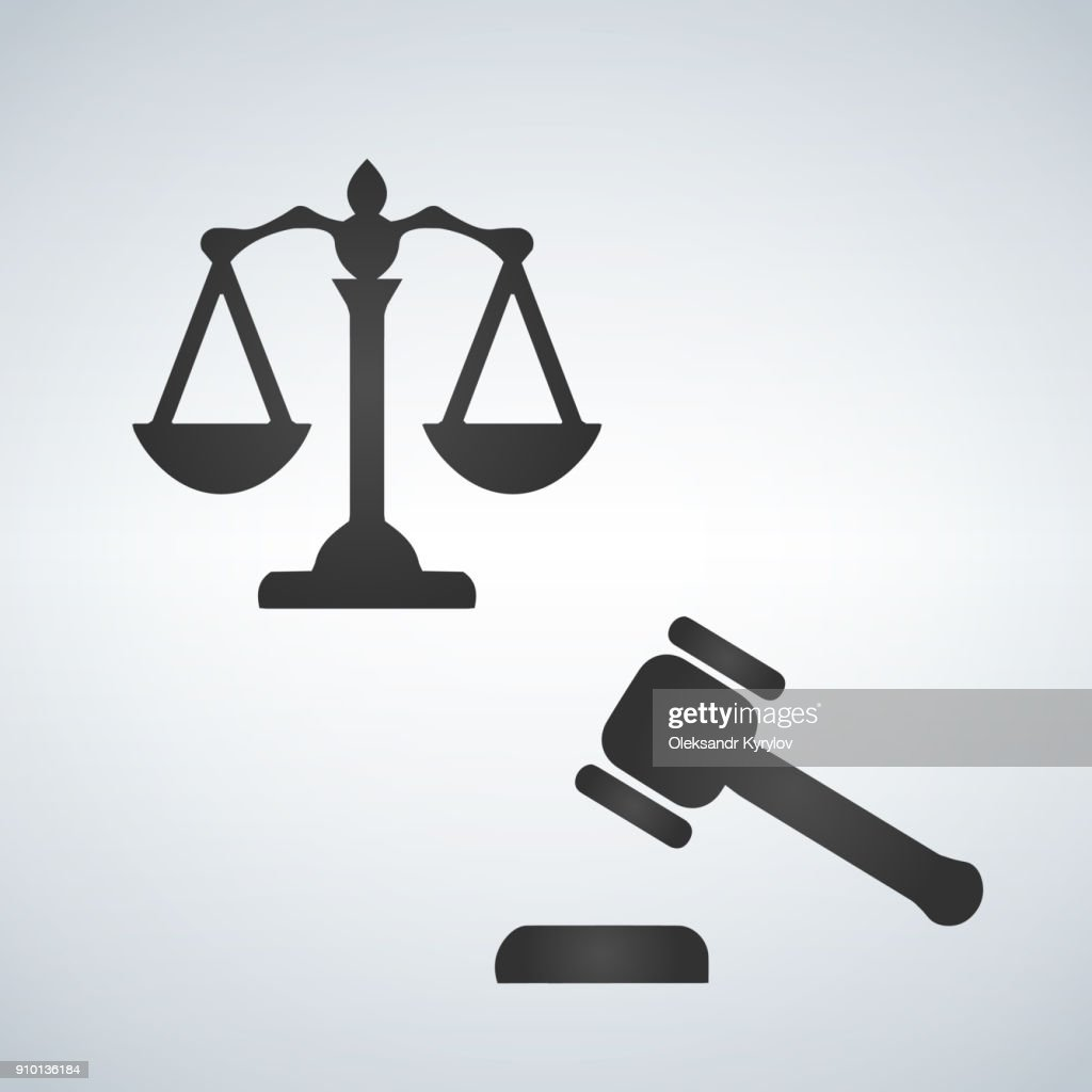 Judge icons set. scales, auction hummer, vector illustration isolated on white background