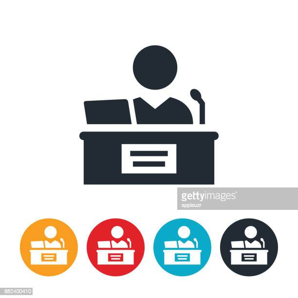 judge on stand icon - governor stock illustrations, clip art, cartoons, & icons