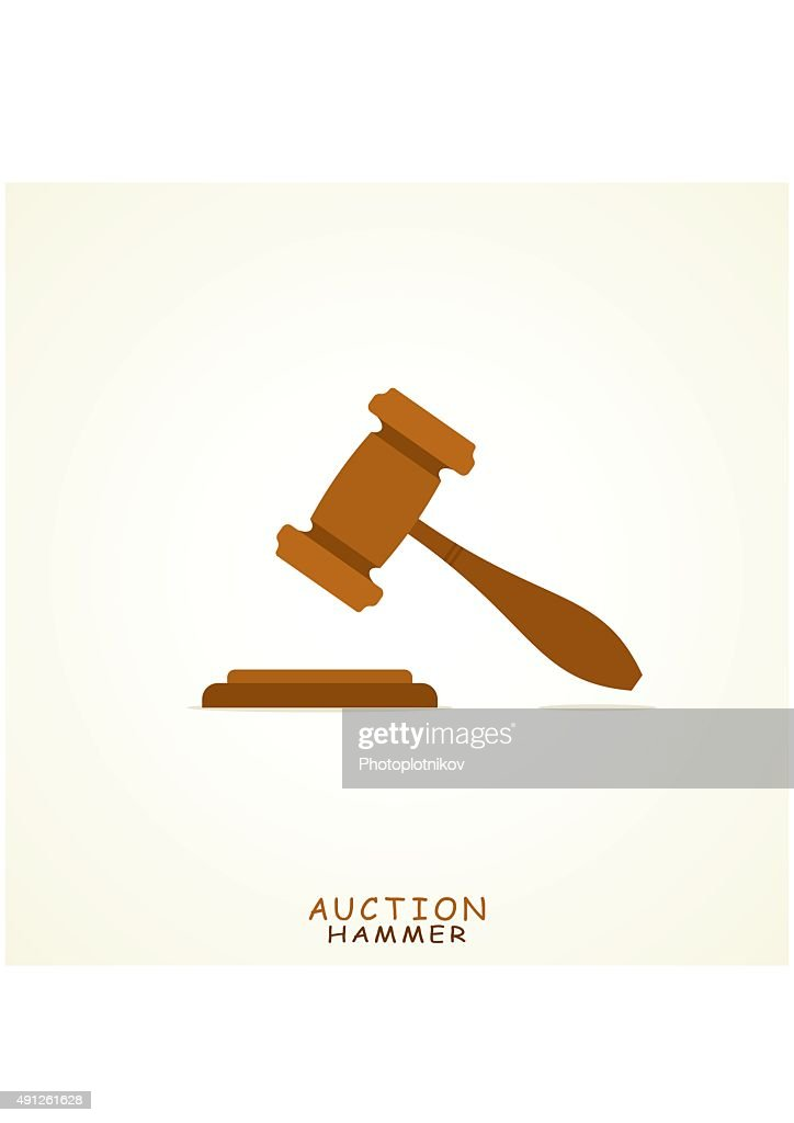 Judge or Auction Hammer icon in Flat style.