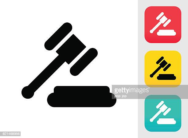 judge or auction hammer icon - courthouse stock illustrations, clip art, cartoons, & icons