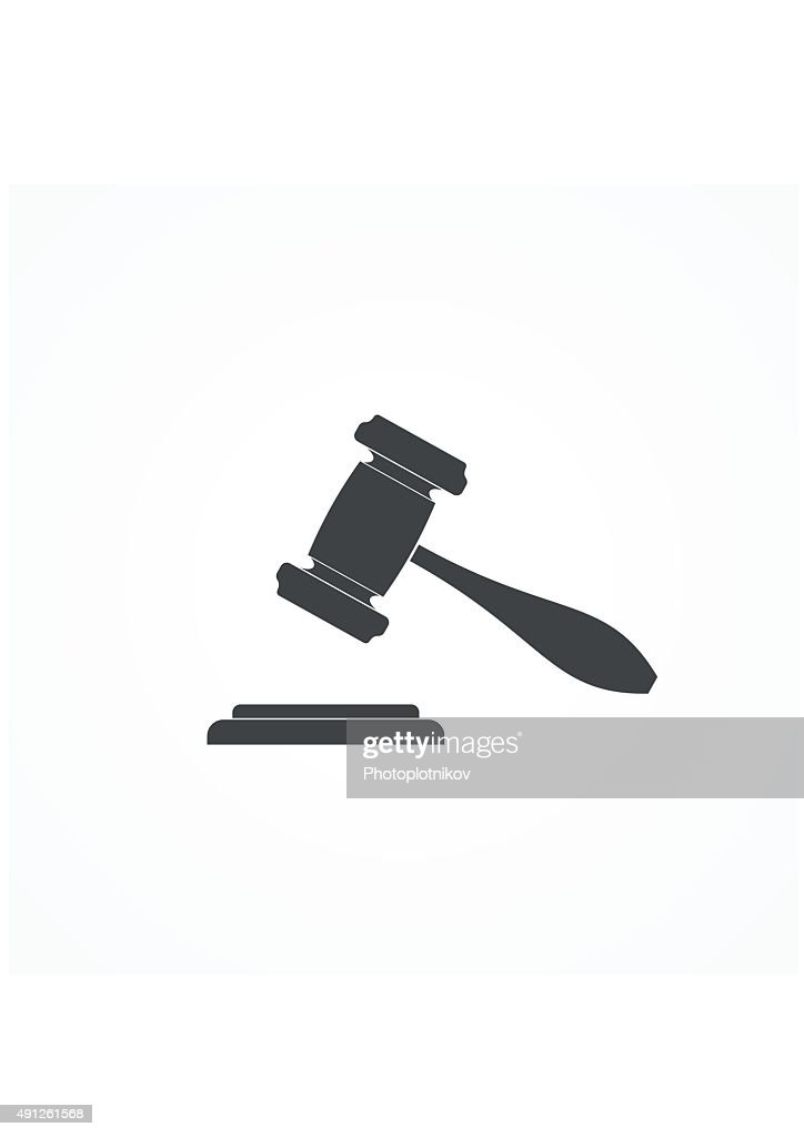 Judge or Auction Hammer icon. Vector Illustration.