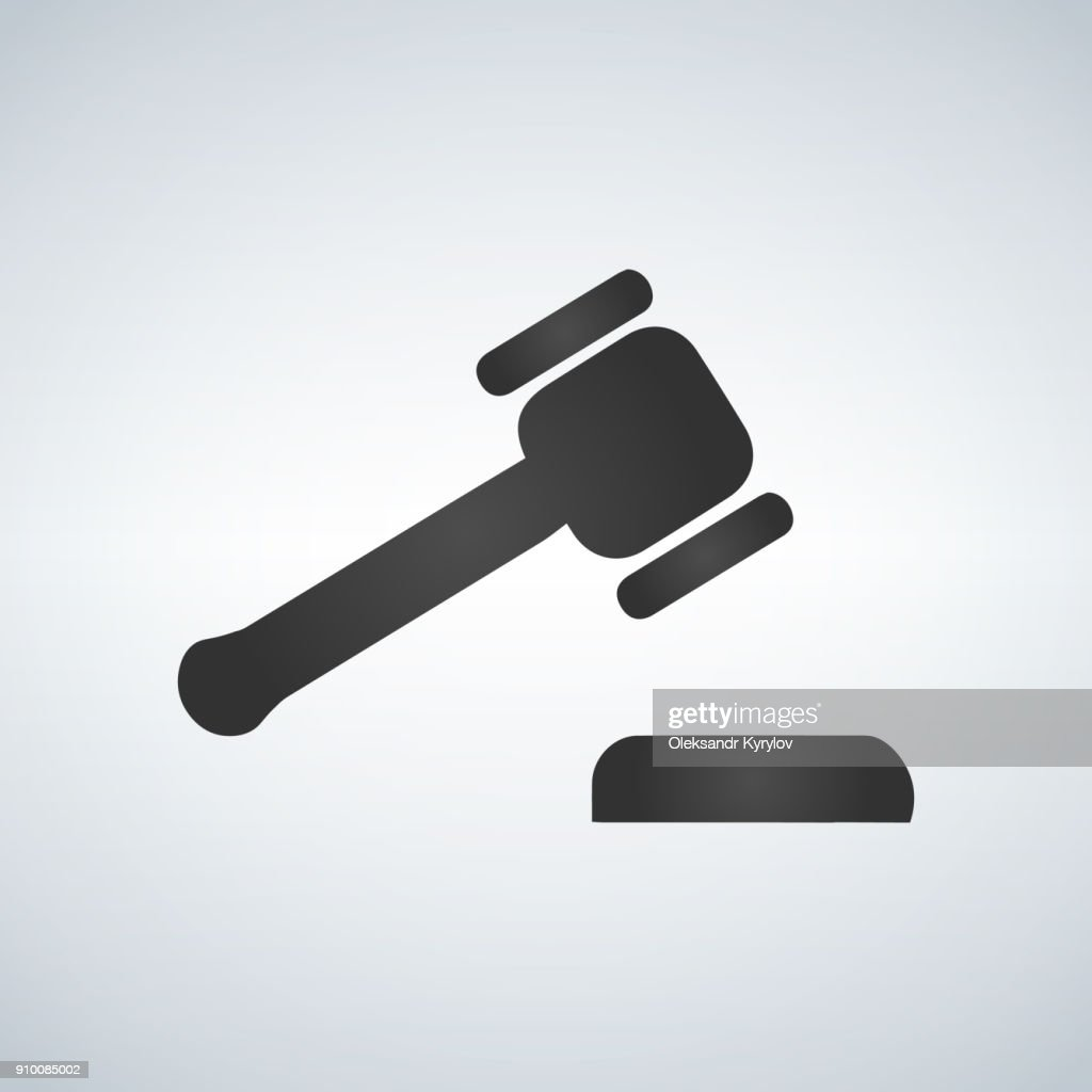 Judge or auction hummer. Flat style icon. Vector illustration