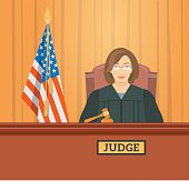 Judge woman in courthouse flat illustration
