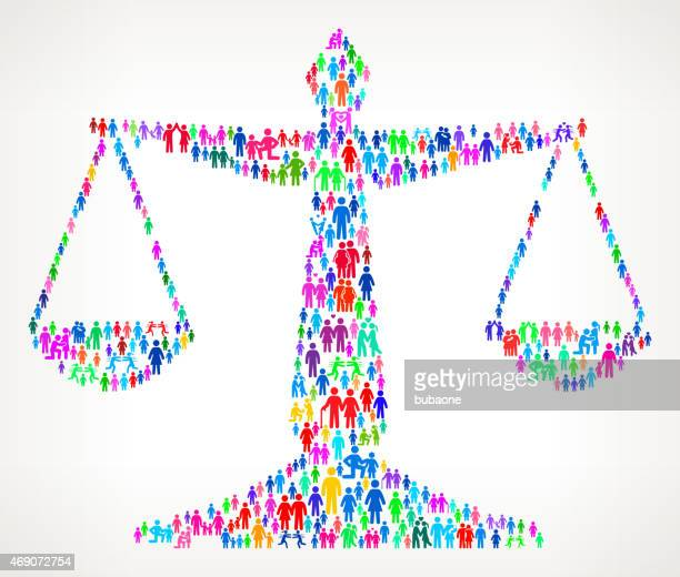 judicial scale on vector family pattern background - justice concept stock illustrations