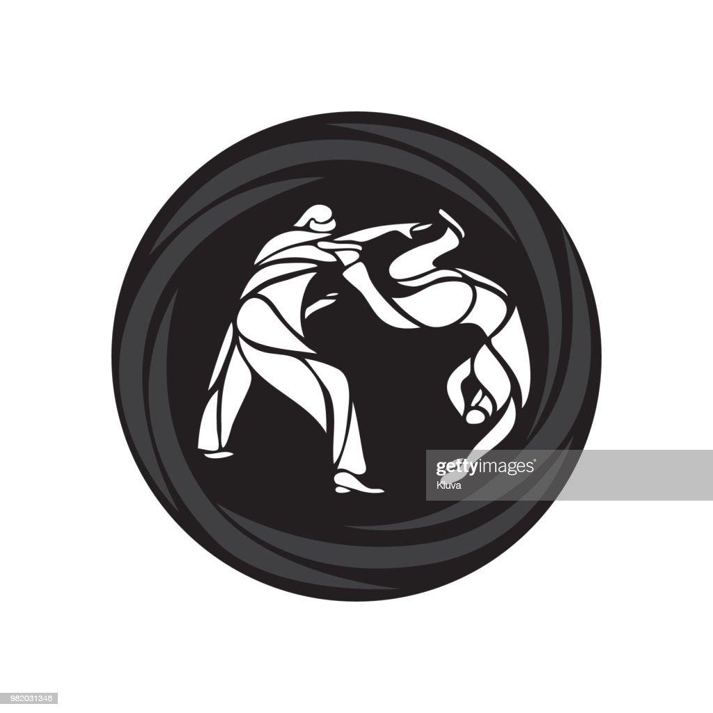 Judo fighters round pictogram or . Martial arts icon