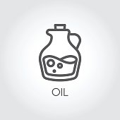 Jug with oil icon. Food symbol in thin line style. Culinary concept. Vector outline illustration
