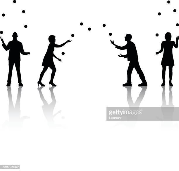 jugglers - juggling stock illustrations, clip art, cartoons, & icons