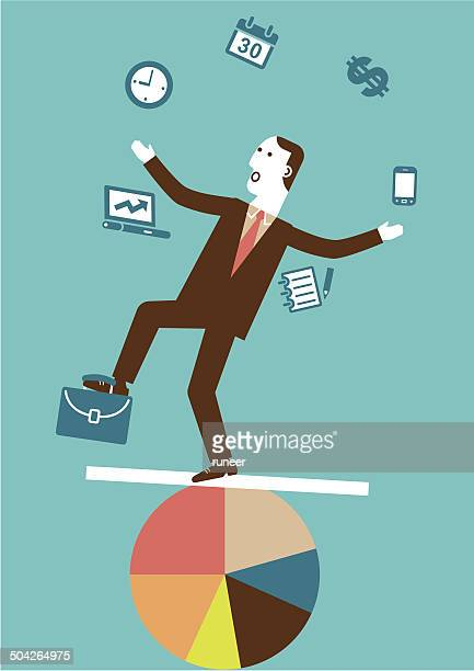 juggling (multitasking) businessman | new business concept - juggling stock illustrations, clip art, cartoons, & icons