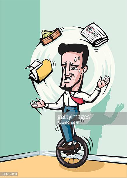 juggling businessman - unicycle stock illustrations, clip art, cartoons, & icons