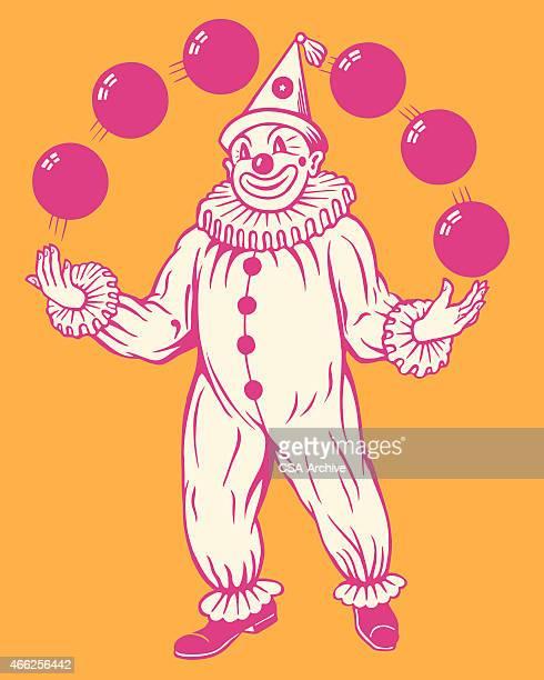 juggling clown - juggling stock illustrations, clip art, cartoons, & icons