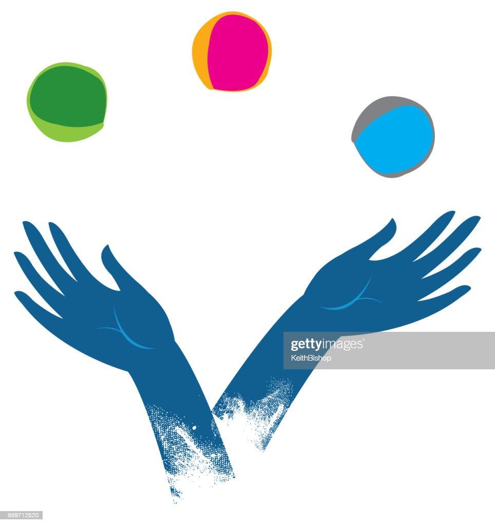 Jonglieren Hände : Stock-Illustration