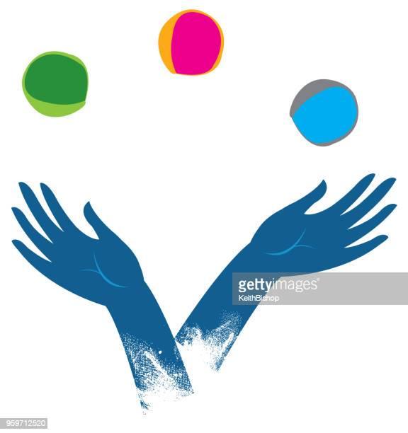 juggling hands - juggling stock illustrations, clip art, cartoons, & icons