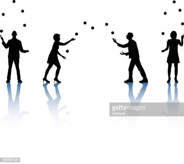 juggling - juggling stock illustrations, clip art, cartoons, & icons
