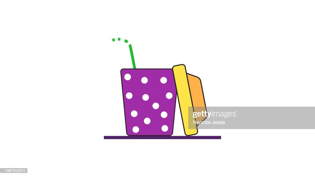 Juice glass with top cap icon : stock illustration