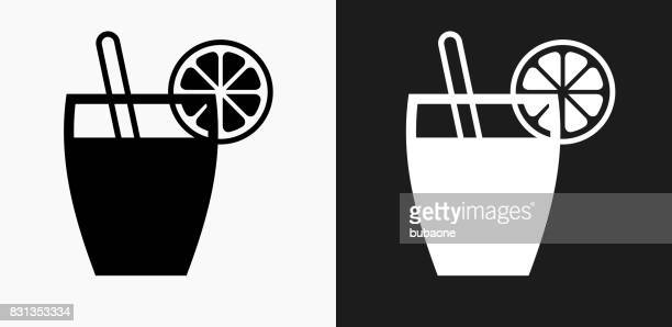 Juice Icon on Black and White Vector Backgrounds