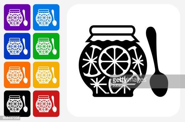 Juice Icon Square Button Set
