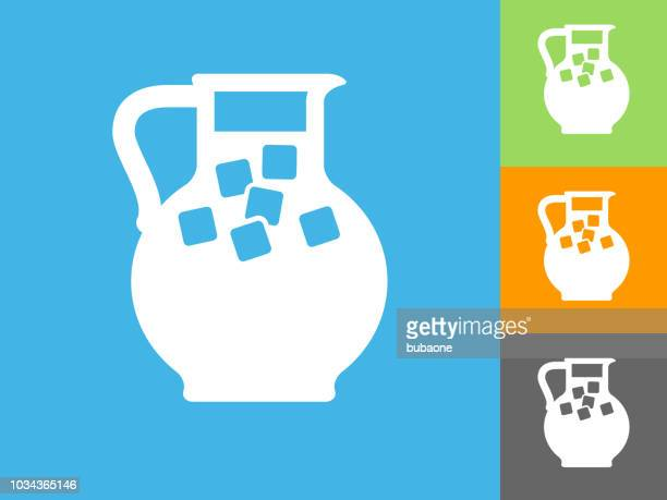 juice jug flat icon on blue background - juice drink stock illustrations, clip art, cartoons, & icons