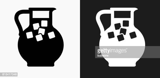 Juice Jug Icon on Black and White Vector Backgrounds