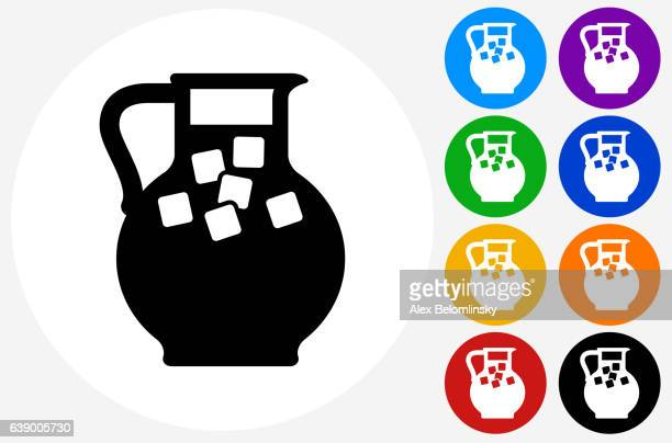 Juice Jug Icon on Flat Color Circle Buttons