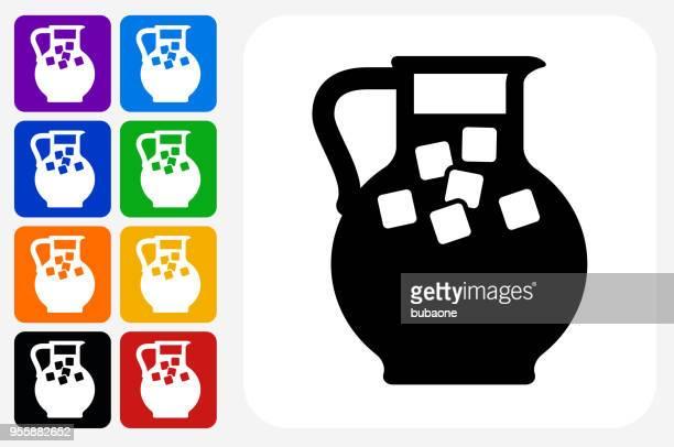 Juice Jug Icon Square Button Set