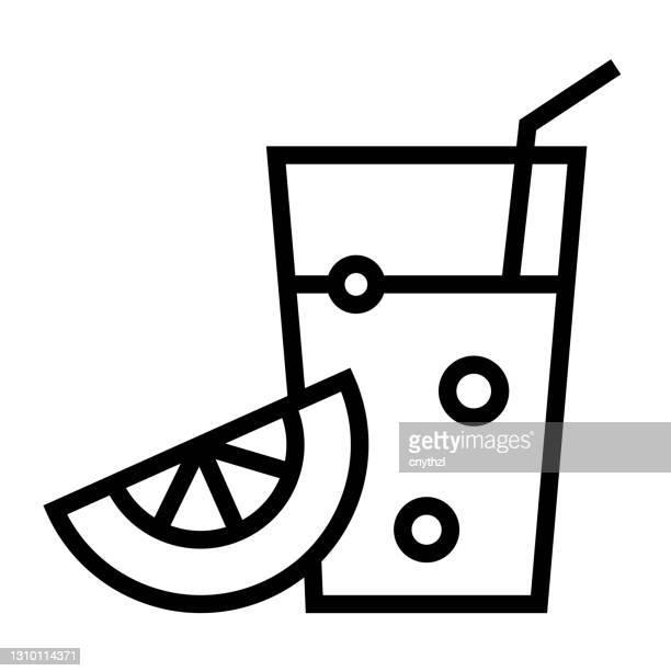 juice line icon, outline symbol vector illustration - lemonade stock illustrations