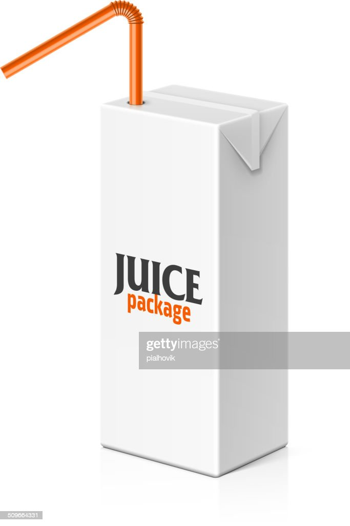 Juice or milk box with drinking straw