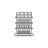 juice packaging on shelves icon
