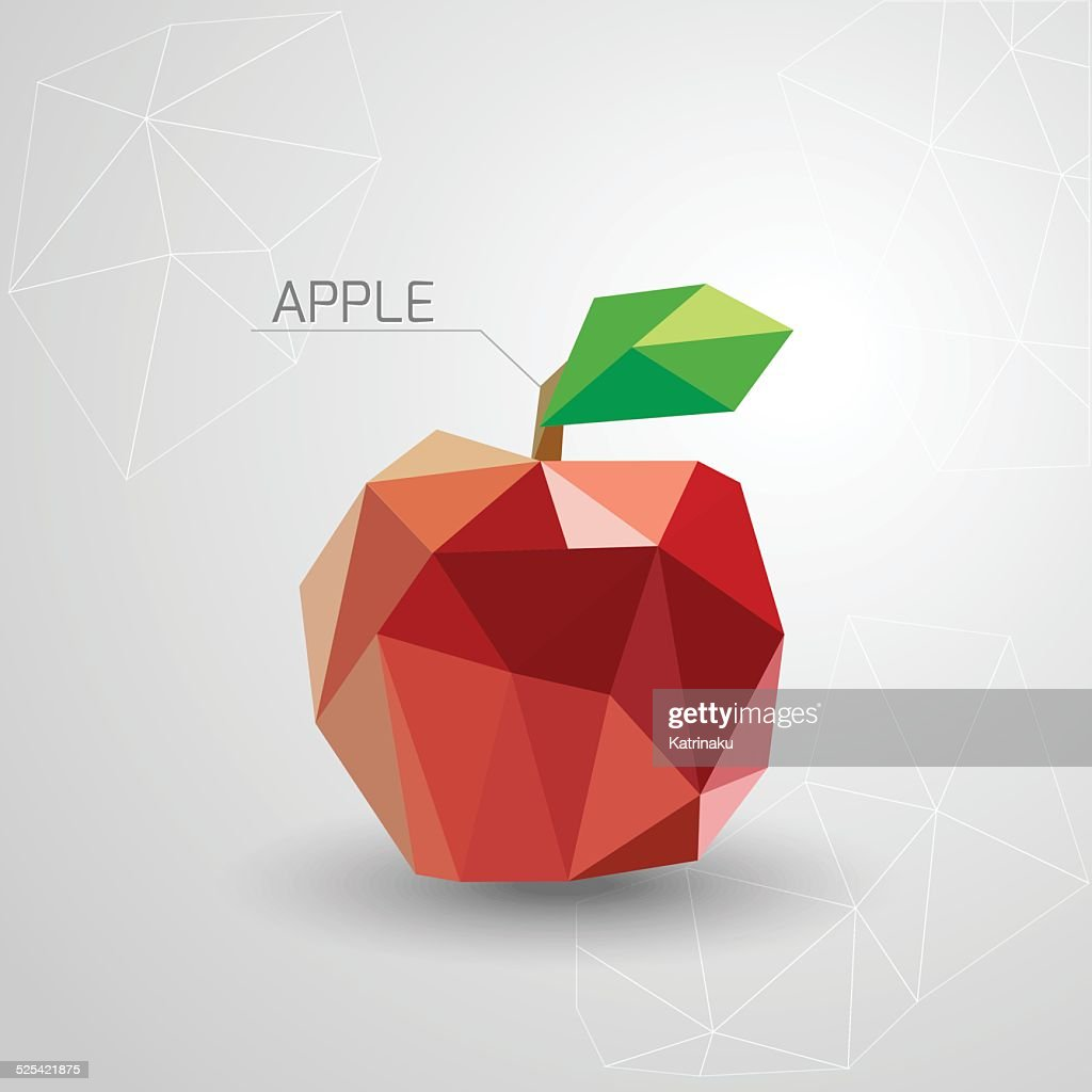 Juicy apple polygon . Vector illustration