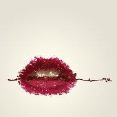 Juicy female lips of blots vector