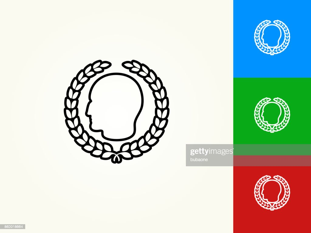 Julius Caesar Profile And Laurel Wreath Black Stroke Linear Icon