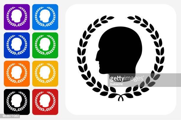 julius caesar profile and laurel wreath icon square button set - emperor stock illustrations, clip art, cartoons, & icons