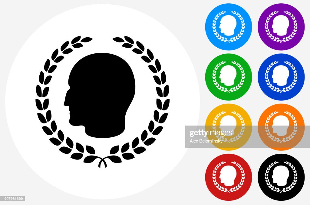 Julius Caesar Profile Laurel Wreath Icon On Flat Color Circl Vector
