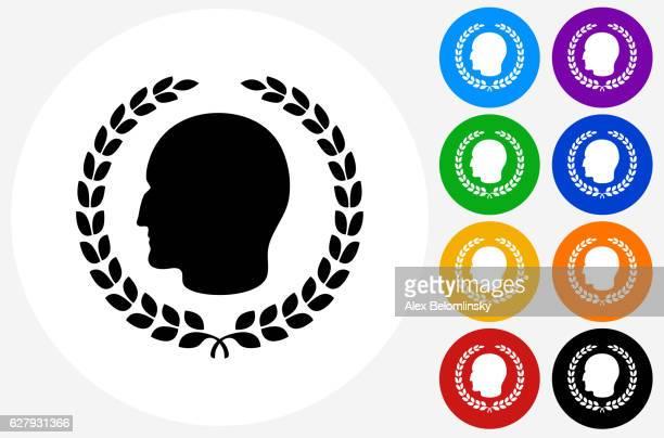 julius caesar profile  laurel wreath icon on flat color circl - emperor stock illustrations, clip art, cartoons, & icons