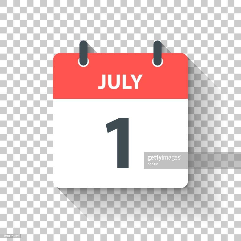 7月1日 - フラットなデザインスタイルで毎日カレンダーアイコン : ストックイラストレーション