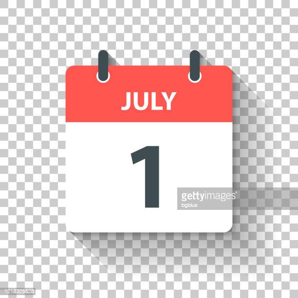 july 1 - daily calendar icon in flat design style - single object stock illustrations