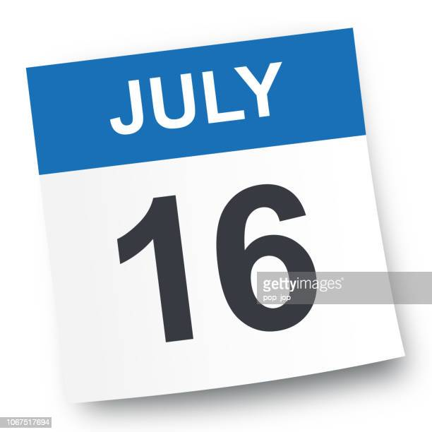 july 16 - calendar icon - july stock illustrations