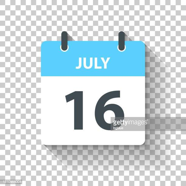 july 16 - daily calendar icon in flat design style - july stock illustrations