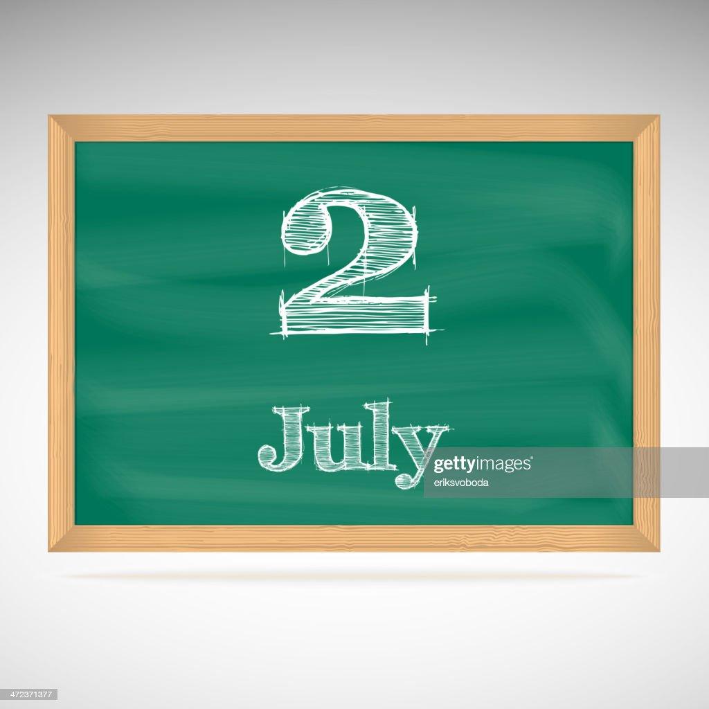 July 2, day calendar, school board, date