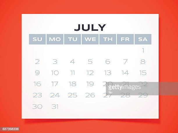 july 2017 calendar - monthly event stock illustrations