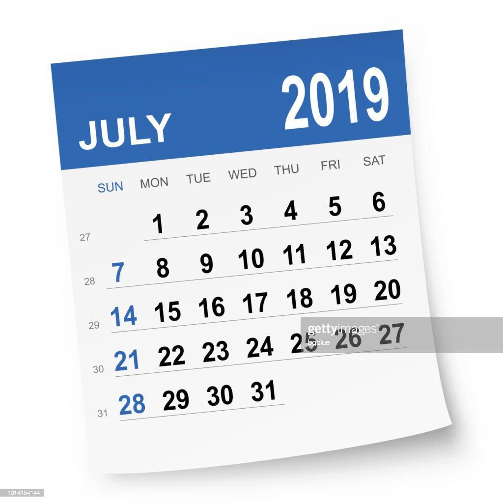2019年 7 月カレンダー : ストックイラストレーション