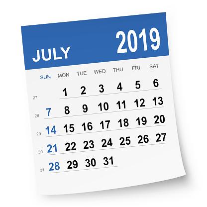 July 2019 calendar - gettyimageskorea